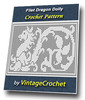 Thumbnail Filet Dragon Doily Vintage Crochet Pattern