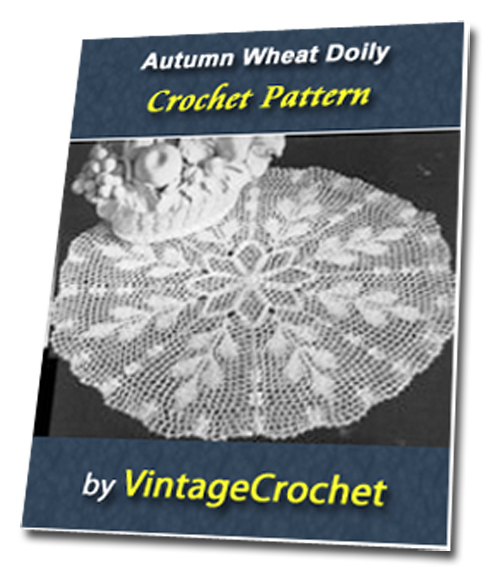 Product picture Autumn Wheat Doily Vintage Crochet Pattern Ebook