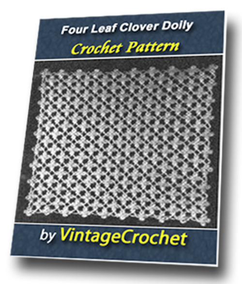 Product picture Four Leaf Clover Doily Vintage Crochet Pattern