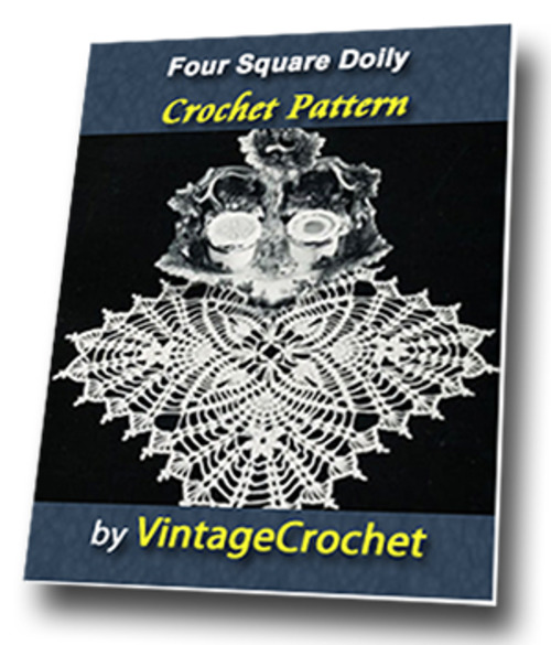 Product picture Four Square Doily Vintage Crochet Pattern