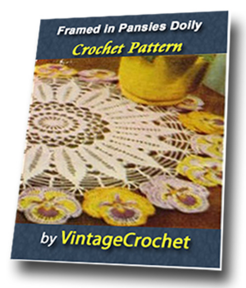 Product picture Framed in Pansies Doily Vintage Crochet Pattern