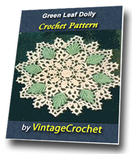 Product picture Green Leaf Doily Vintage Crochet Pattern